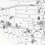 Extrait du plan Popp de 1860 (Fonds Body) L'école était située au bord du Chemin du cu du Pré