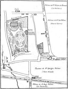 Plan des environs du Tonnelet avec le détail de la propriété dénommée « Chalet Franklin » (Archives Ville de Spa)