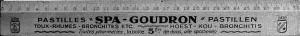 Une règle d'écolier marquée au nom des Pastilles « Spa-Goudron »