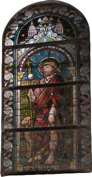 Vitrail représentant St Roch (Eglise St Remacle à Spa
