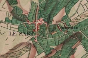 Le villageLe Sart et le hameauPriesville, carte Ferraris de 1777