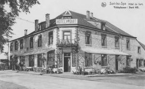 L'hôtel de Sart en 1930, appelé initialement hôtel de la Renommée, puis fin de la 1ère Guerre hôtel de l'Aviation (carte postale)