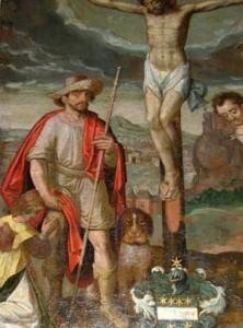 Le Christ en croix entouré de Saint Sébastien et de St Roch (Eglise St Remacle - Spa
