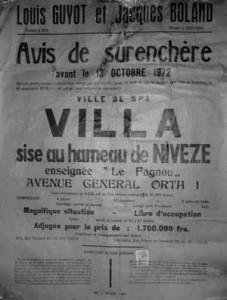 Affiche de la vente de la Villa « Le Fagnou » en 1972 (collection Georges Stéfani)