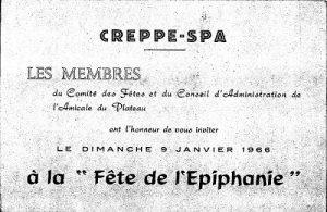Carton d'invitation à la fête de l'Epiphanie du dimanche 9 janvier 1966