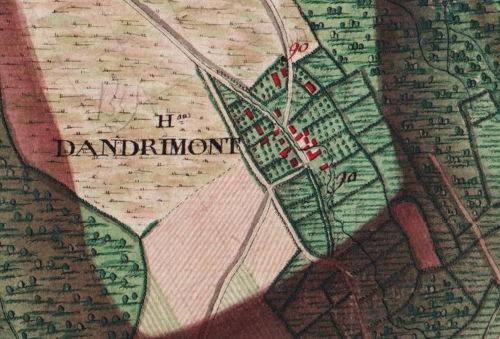 Le hameau  «Dandrimont» extrait de la carte Ferraris de 1777 (I.G.N. – www.ign.be)