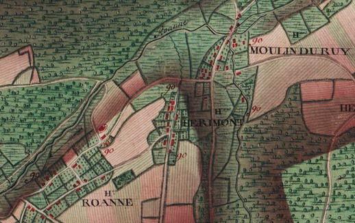 Les hameaux de « Roanne », « Herimont »  et « Moulin du Ruy »  Extrait de la carte Ferraris de 1777 (I.G.N. – www.ign.be)