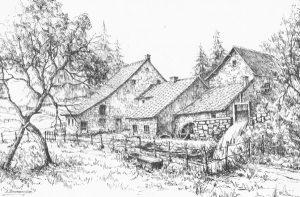 Le moulin de Polleur: dessin de D. Bourdouxhe (Extrait de «Retrouvailles imagées – Polleur», J.  Grosdent)