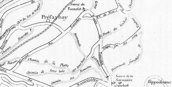 Extrait d'une carte de J.C. Bernhard, dessinateur-graveur bruxellois, illustrant le  « Guide des promenades pédestres» édité en  1903 par l'imprimerie V. Goffin de Spa